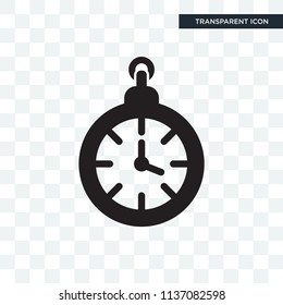 Clock pointing four o'clock vector icon isolated on transparent background, Clock pointing four o'clock logo concept