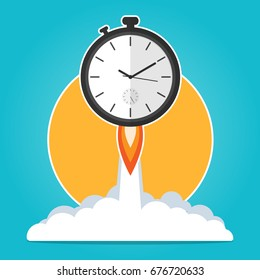 clock rocket launch up,time to work time is running,deadline concept flat vector