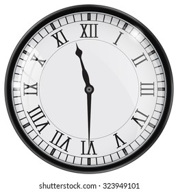 Clock with roman numbers. Vector isolated on white background.