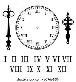 Clock with roman numerals. With numbers, hour and second hands separately. Vector illustration isolated on white background