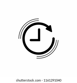 Clock with and round arrow. Flat icon isolated on white. Repeat clock pictogram. Time symbol