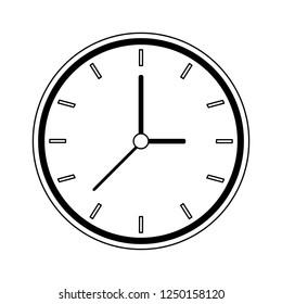 Clock round frame black and white