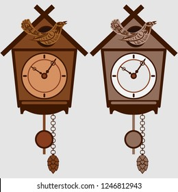 Clock set with pendulum and cuckoo. Two options, dark and light vector illustration.