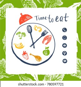 Clock to show time eat concept. Food delivery. Template poster, flyer, banner, web design. Element corporate identity for restaurant, cafe, bar with premium, natural product. Vector illustration