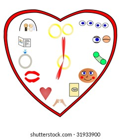 A clock showing different phases of love, starting with eying the other person, and ending with marriage