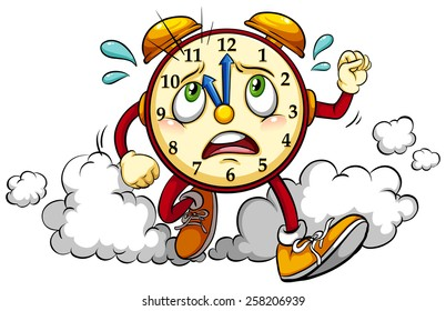 Clock showing the eleventh hour on a white background