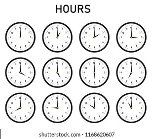 The clock with showing hours, the time, vector clocks, hours