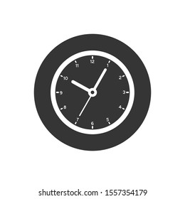 Clock sign white icon in flat style. Time management vector illustration on gray isolated background. Timer business concept