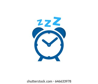 Clock Sleep Icon Logo Design Element
