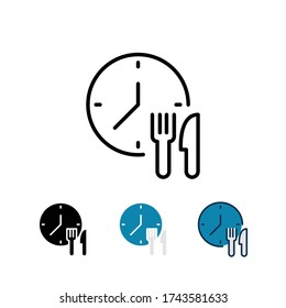 Clock, spoon, knife for eating time Fast delivery, Express delivery Service for apps & website for food order concept. Time, food delivery icon. Vector illustration. Design on white background. EPS10