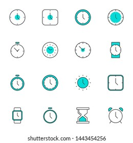 clock, time, alarm, watch filled line icons set. simple creative filled line blue icons set vector illustration