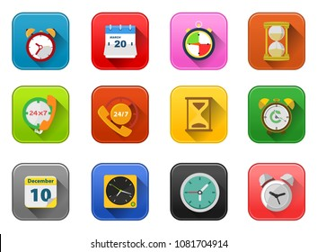 clock Time and event Icons, vector alarm timer illustration - 24 hour sign and symbols