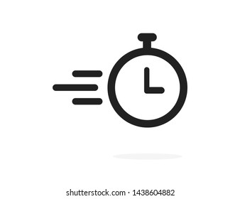 Clock or time flying icon isolated on white background. Timer sign. Flat time design concept. EPS 10