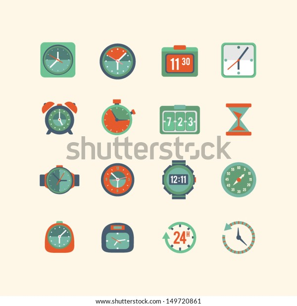 Clock and time icon set