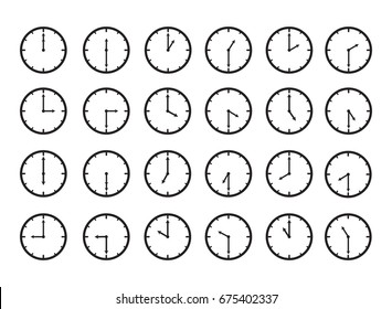 Clock time icon set for every hour and every half hour time.
