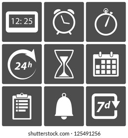 Clock and time icons: day and night, alarm, date symbols