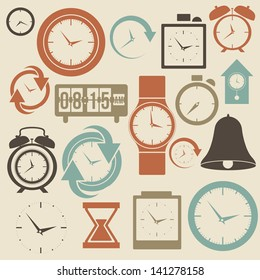 clock and time icons over cream  background vector illustration