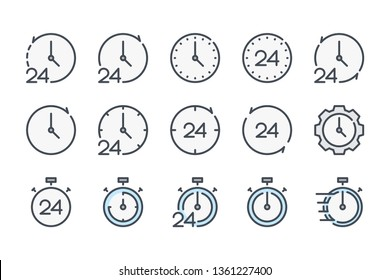 Clock and time related color line icon set. Watch and stopwatch linear icons. Countdown colorful outline vector sign collection.