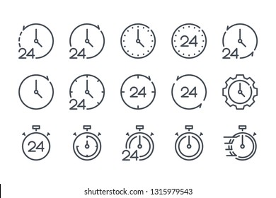 Clock and time related line icons.  Watch and stopwatch vector linear icon set.