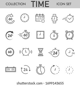 Clock and time set icons. Isolated editable simple vector illustration.