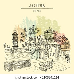 Clock tower and Sardar Market gate in Jodhpur by Mehrangarh fort, Rajasthan, India. Artistic travel sketch. Hand drawn postcard, poster, book illustration in vector