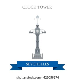 Clock Tower in Victoria in Seychelles. Flat cartoon style historic sight showplace attraction web site vector illustration. World countries cities vacation travel sightseeing Africa Island collection.