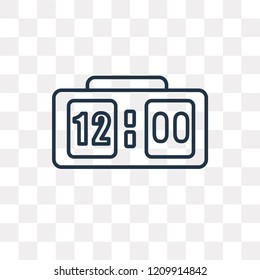 Clock at Twelve O'Clock vector outline icon isolated on transparent background, high quality linear Clock at Twelve O'Clock transparency concept can be used web and mobile