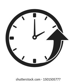 Clock with an upward going arrow icon. Flat. Isolated on white background.