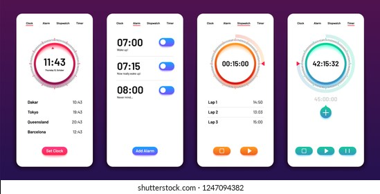 Clock user interface. Alarm stopwatch timer ui mobile phone. Time app vector design