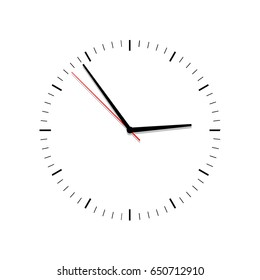 Clock vector . Flat. Classic black and white round wall clock isolated on white. Clock face with shadow on white background. Vector illustration