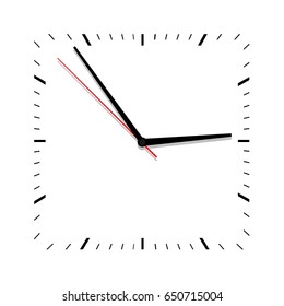 Clock vector . Flat. Classic black and white square wall clock isolated on white. Clock face with shadow on white background. Vector illustration