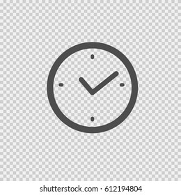 Clock vector icon eps 10. Simple isolated illustration on transparent background.