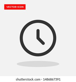 Clock vector icon in trendy flat style isolated on grey background