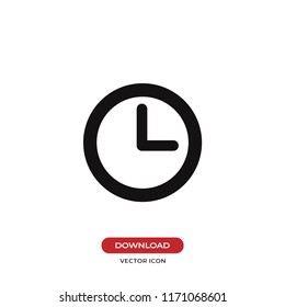 Clock vector icon. Watch,time symbol. Flat vector sign isolated on white background. Simple vector illustration for graphic and web design.
