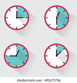Clock vector icons. Time countdown vector set. Flat style illustration.