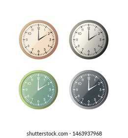 clock vector illustration. watches and time. four color options