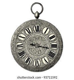 Clock  - vintage engraved illustration -