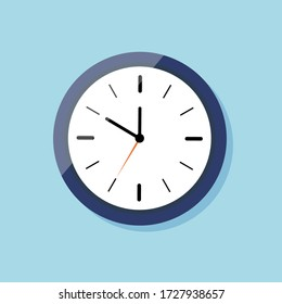 Clock for wall on flat style. Icon of watch. Blue clock with white dial and shadow. Time in round alarm. Black hour arrow, orange stopwatch arrow. Logo of ticking timer. Concept of countdown. Vector.