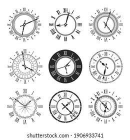 Clock and watch face with vintage round dial vector icons. Isolated black and white timepieces, antique wall or pocket watches with roman numerals and ornate clock hands, time design