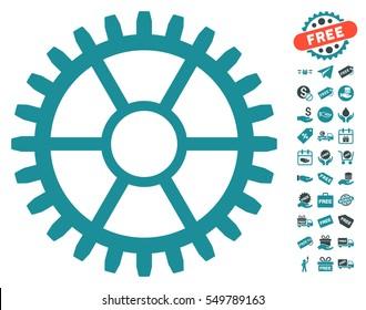 Clock Wheel icon with free bonus graphic icons. Vector illustration style is flat iconic symbols, soft blue colors, white background.