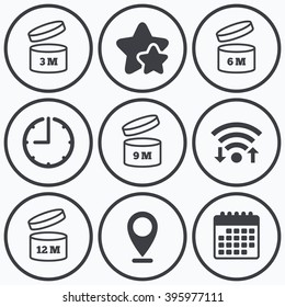Clock, wifi and stars icons. After opening use icons. Expiration date 6-12 months of product signs symbols. Shelf life of grocery item. Calendar symbol.
