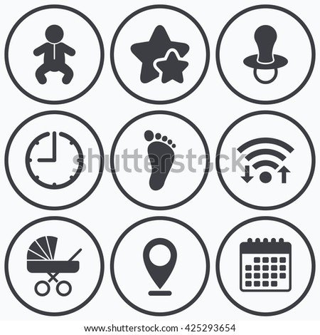 Clock Wifi Stars Icons Baby Infants Stock Vector Royalty Free