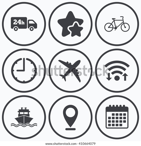 Clock, wifi and stars icons. Cargo truck and shipping icons. Shipping and eco bicycle delivery signs. Transport symbols. 24h service. Calendar symbol.