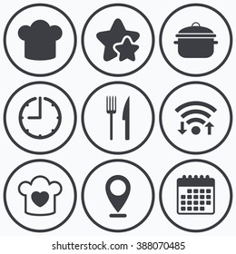 Clock, wifi and stars icons. Chief hat and cooking pan icons. Fork and knife signs. Boil or stew food symbols. Calendar symbol.