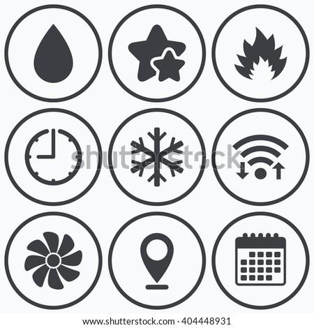 Clock Wifi Stars Icons Hvac Icons Stock Vector Royalty Free