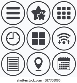 Clock, wifi and stars icons. List menu icons. Content view options symbols. Thumbnails grid or Gallery view. Calendar symbol.