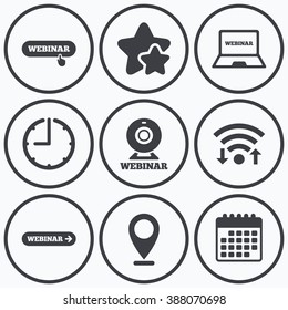 Clock, wifi and stars icons. Webinar icons. Web camera and notebook pc signs. Website e-learning or online study symbols. Calendar symbol.