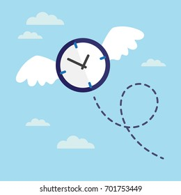 Clock with wings flying in the sky. Lost time concept. Vector illustration