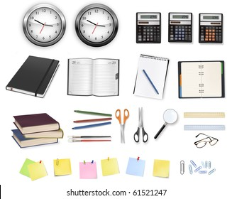 A clocks, calculators and some office supplies. Vector.