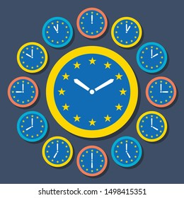Clocks With EU Flag Clockface, Showing 12 Hours Until Brexit